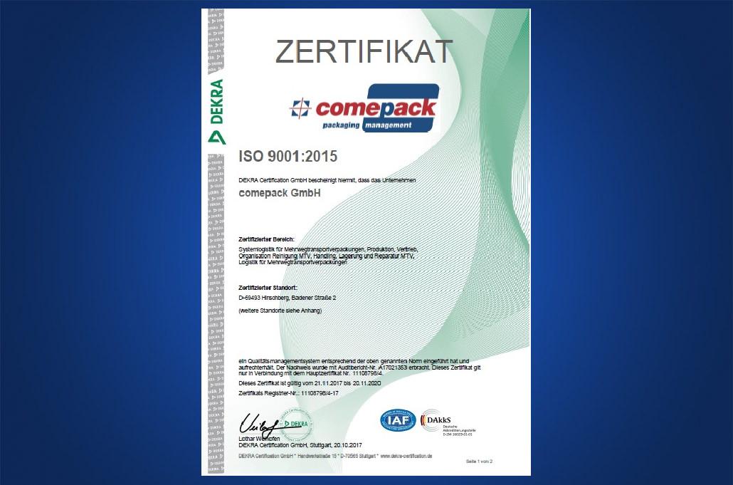 comepack Zertifikat